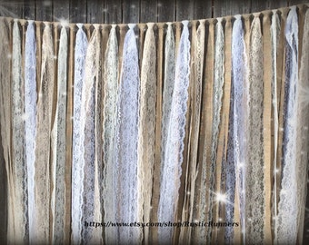 Rustic Country Charm Barn Wedding Burlap Lace Hanging Garland Swag Rag Tie Backdrop Wedding decor Hanging photo backdrop Prop size 6 ft X 6