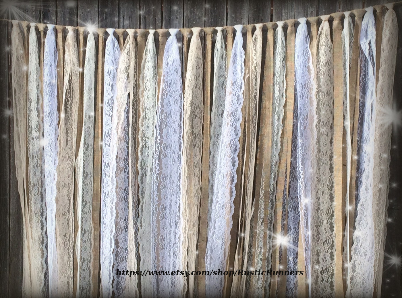 Rustic Country Wedding Burlap Lace Hanging Garland Swag Rag