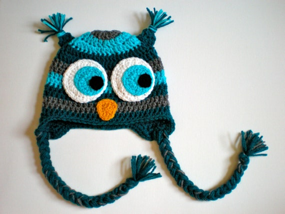 PATTERN:  Striped Owl Hat, size newborn to adult, baby hat kid hat animal hat, Easy Crochet PDF, InStanT DowNLoaD, Permission to Sell