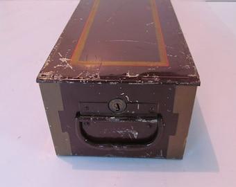 Vintage Large Metal Bank Safe Deposit Box Metal Storage Box