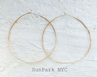 Delicate Gold Earring/Thin Gold Hoop/Geometric Jewelry/Hammered Gold Earrings/Brass Earrings/Large Gold Hoop/Wire Earring/Geometric Earring