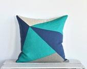 Kaleidoscope Modern Colorblock Pillow Cover -  Blue Combo