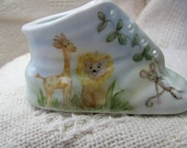 Jungle Baby Personalized baby bootie hand painted porcelain baby shoe