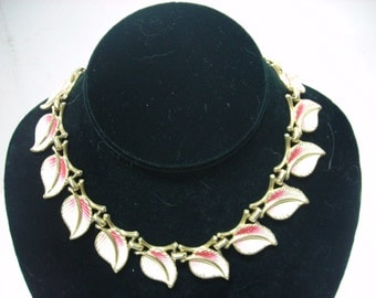 Vintage 15 Inch Necklace with White Leaves and Red Tops Goldtone Stems Heavy