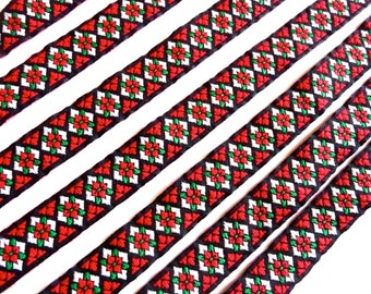 Vintage black white red and green woven ribbon braid trim