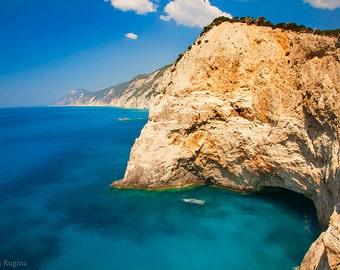 Nautical decor, travel location wall art, Porto Katsiki blue landscape, paradise beach, calm paradise island Greece, turquoise Mediterranean