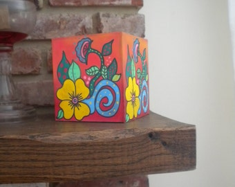 Hand Painted Tissue Box Cover