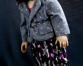 "Doll Clothes Girl American 18"" Gray Suede Sparkle Jacket and Silk Skirt -  Collared Jacket with Pockets and Silver Rose Button; Silky Skirt"