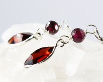 Garnet earrings with Sterling Silver, red gemstone earrings, fine earrings, dangle earrings, January birthstone, gift for her, ER2221