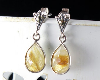 Rutil Quartz earrings with Sterling Silver marcasite studs,  yellow gemstone earrings, fine earrings, elegant studs, gift for her, ER2625