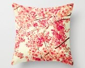 SALE,Pillow cover, coral pillow, pink pillow,white pillow,girl nursery decor,cherry blossom,nursery art,french decor,red pillows,love pillow