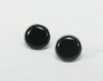 Black Stud Earrings 20mm - Black Big Earrings - Black Post Earrings - Black Round Ear Stud - Waterproof Studs - Surgical Stainless Steel