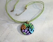 Peace Baby - Pendant with Necklace - Unique Washer Necklace