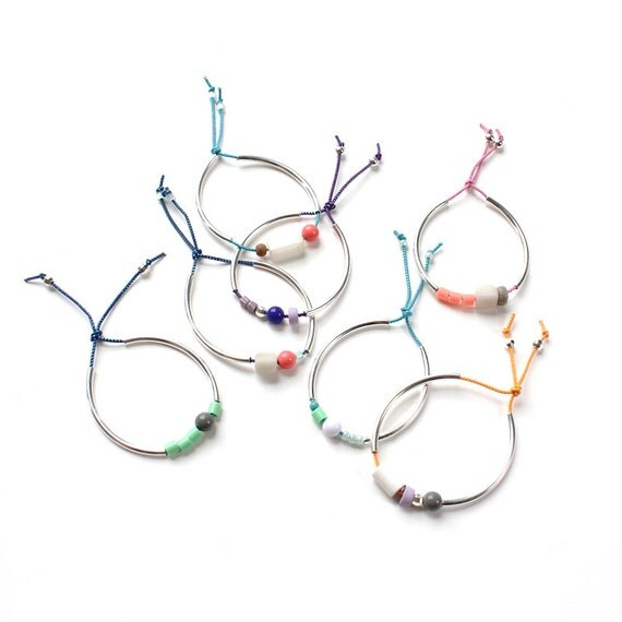 PICK 3 Colorful Stacking Bangles: silver or gold beaded elastic tube bracelets / geometric colorblock mixed-media jewelry