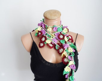 Colorful necklace, crochet lariat, crochet belt, floral scarf, handmade neckwarmer, scarf...