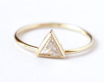 Trillion Diamond Ring - Diamond Engagement Ring - 0.25 Carat Trillion Diamond - 18k Solid Gold