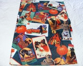Halloween vintage Postcard fabric