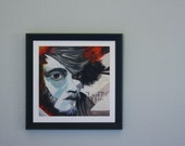 Dominic - 10x10 Fine Art Giclee Print - Grey - Orange - Man - Black and White - Painting - Dreamer - Dark