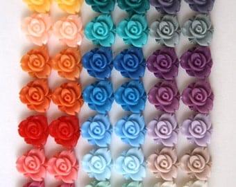 54 pcs Resin Flower Cabochons - 12mm Trillium Flowers - 27 Vibrant Matte Colors