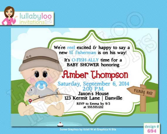 fishing baby shower invitations by lullabyloo on etsy