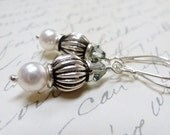 Bali Antique Sterling Silver Earrings / Pearls & Crystals / SimplyJoli Fashion Jewelry / Black and White