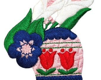 ID #3325 Easter Egg Garden Flowers Spring Season Holiday Iron On Applique Patch
