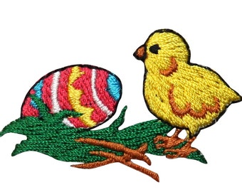 ID #3348B Easter Egg & Baby Chicken Chicklet Embroidered Iron On Applique Patch