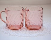 Set of 2 Arcoroc France Pink Glass Coffee Cups