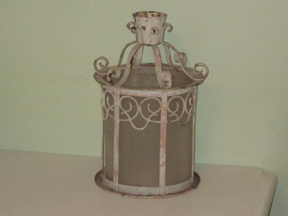 antique shabby chic chippy metal ceiling light fixture with frosted. Black Bedroom Furniture Sets. Home Design Ideas