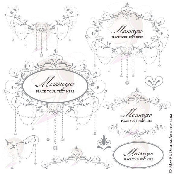 Elegant Wedding DIY Invitations Digital Frame Chandelier
