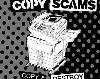 "The Copy Scams - Copy & destroy 10"" vinyl record, zine, and digital download code."