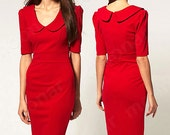 Red Vintage Dress US Size S/M (6-8) / Sexy Vintage Retro Women Rockabilly Pinup Party Casual Pencil Dress US Stretch Stretchy Fabric