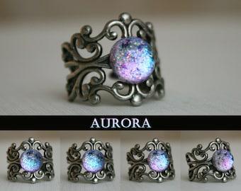 Aurora Moonlight Antique Silver Cuff Ring