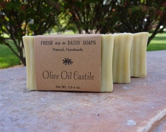 ORGANIC Olive Oil Castile Soap, Unscented, Extra-Virgin Olive Oil, Vegan, Cold Process