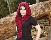 Chunky Triangle Scarf in Wine, Chunky Triangle Cowl in Wine, Chunky Hood in Wine, Shawl in Merlot