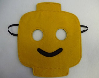 Lego inspired yellow smiling mask for children. Great gift, party, costume, Halloween, role play.