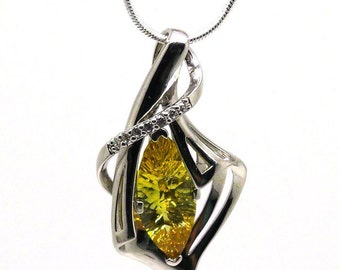 Cala Flower Necklace, 925 Sterling Silver Necklace, Yellow Marquise Zircon Necklace, Gemstone Necklace, Yellow Necklace,  Unique Jewelry