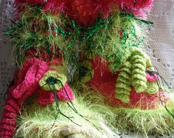 Handknitted woman fairy slippers hippie gypsy boho psychedelic neon colors pink fuschia  green grass flowers gift for her Valentine's gift