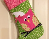 Applique'd Owl Girl Christmas Stocking in Green and Pink