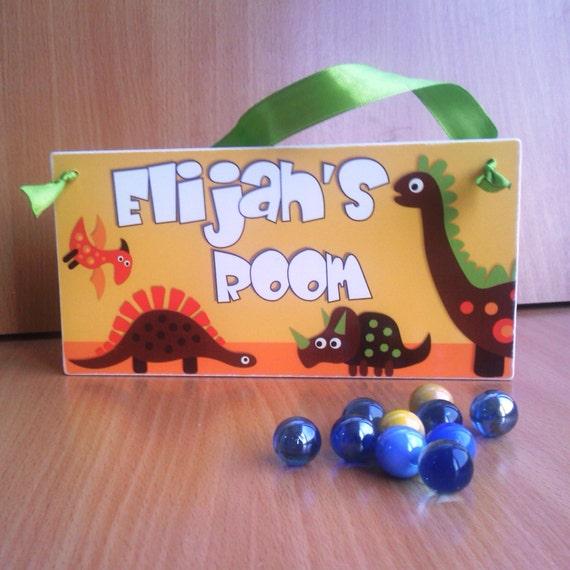 Retro dinosaur kids bedroom door sign dino theme by kasefazem for Dinosaur kids room decor