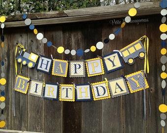 Choo Choo Train Birthday Banner - Yellow, Navy Blue , Gray
