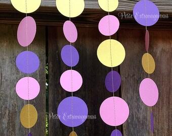 Paper Garland - Pink, Purple, Metallic Gold
