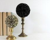 Black Paper Ball of Stars No6 - Origami Kusudama Ball on Brass Pedestal - Wax Paper Sculpture - Black Home Decor - Modern Art Sculpture