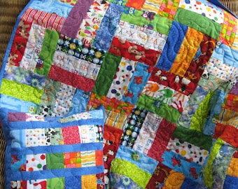Handmade baby quilt,  I spy quilt in primary colors with matching pillow