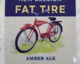 Fat Tire Amber Beer Blue Coaster