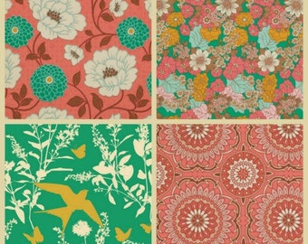 Joel Dewberry Fabric - 4 Fat Quarter Bundle Bungalow in Coral and Emerald