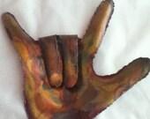 I LOVE YOU sign language wall art: Copper wall art metal sculpture.