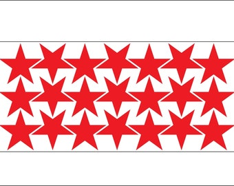 Star-shaped vinyl stickers - 1.5in - many colours available