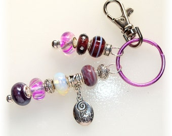 Purple Beaded Key Ring With Pewter Charm
