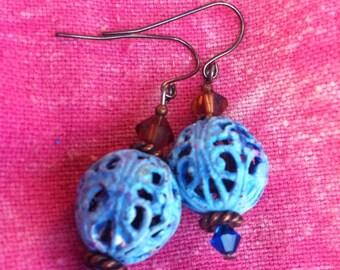 Enameled metal dangle earrings